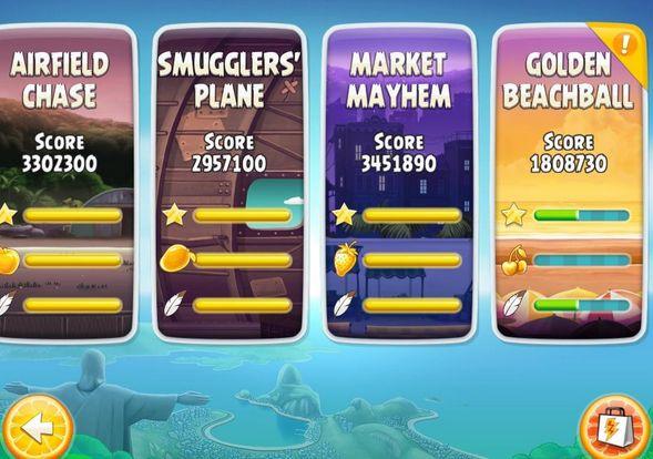Новые уровни в Golden Beachball из Angry Birds Rio